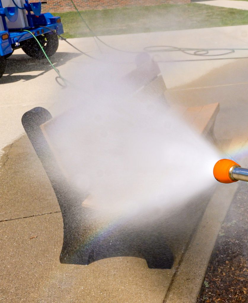 lads-large are decontamination system spraying park bench